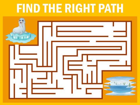Maze game find sea lion walk away to pole