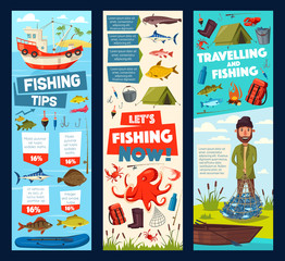 Fishing trip and fisherman fish catch tips banners