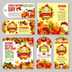 Autumn sale tag and discount promotion banner set