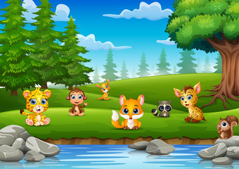 Little animals are enjoying nature by the river
