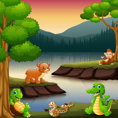 Little animals are enjoying nature by the lake
