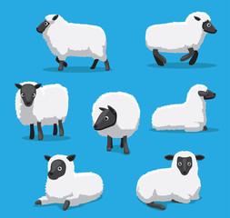 Cute Sheep Poses Cartoon Vector Illustration