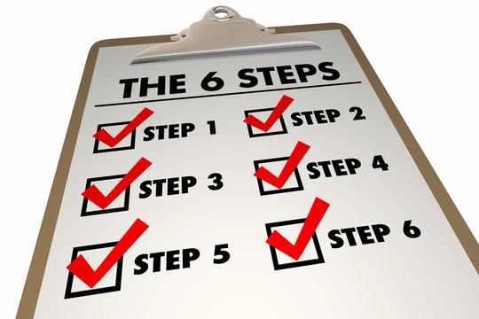 6 Steps Six Levels Process System Checklist Clipboard 3d Illustration