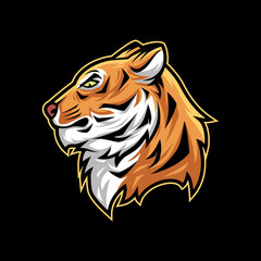 Tiger head vector illustration mascot esport logo