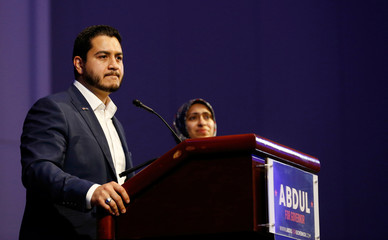 Democratic candidate for Governor Abdul El-Sayed addresses supporters at his Michigan Primary Election night party after conceding defeat to Gretchen Whitmer at Cobo Center in Detroit