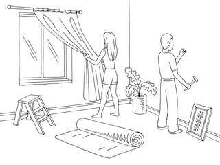 Renovation room home interior graphic black white sketch illustration vector. Man is hammering a nail. Woman hanging curtain