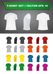 T-shirt template set of different colors, blank shirts front, side, rear views, different angles, vector eps10 illustration