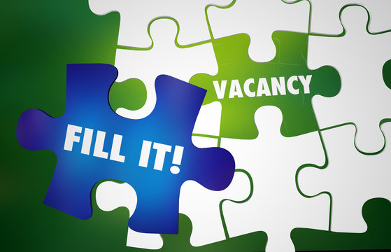 Vacancy Fill It Job Opening Puzzle Words 3d Illustration