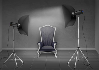 Vector realistic background, room with gray wall and floor, photo studio with empty armchair, lamps and softboxes on tripod stands. Mockup with modern lighting equipment for professional photography