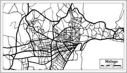 Malaga Spain City Map in Retro Style. Outline Map.
