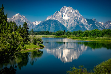 Reflections of the Tetons in the Snake River in Grand Teton National Park