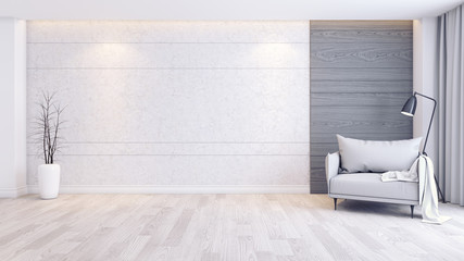Modern and minimalist interior of living room interior,gray armchair  on wood floor and concrete wall,3d render Fototapete
