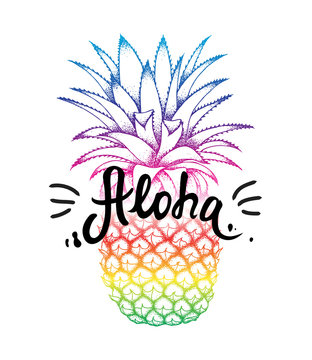 Pineapple colorful sketch isolated on white background. Aloha hand lettering, Hawaiian language greeting typography. Vector illustration for wallpaper, textile, fashion banners, cards, posters.