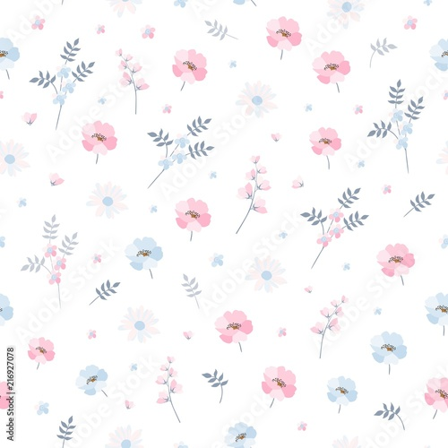 Delicate Ditsy Floral Pattern Seamless Vector Design With Light