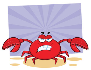 Angry Crab Cartoon Mascot Character. Illustration With Background