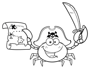 Black And White Pirate Crab Cartoon Mascot Character Holding A Treasure Map And Sword. Vector Illustration Isolated On White Background