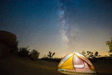Beautiful Milky Way stars with camping tent