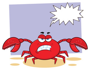 Angry Crab Cartoon Mascot Character. Illustration With Background And Speech Bubble