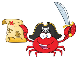 Pirate Crab Cartoon Mascot Character Holding A Treasure Map And Sword. Vector Illustration Isolated On White Background