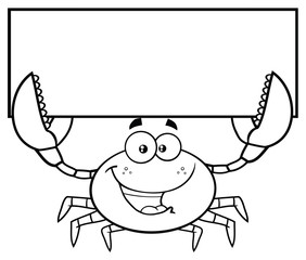 Black And White Happy Crab Cartoon Mascot Character Holding Blank Sign. Vector Illustration Isolated On White Background