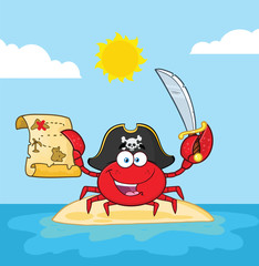 Pirate Crab Cartoon Mascot Character Holding A Treasure Map And Sword On An Island. Vector Illustration With Background