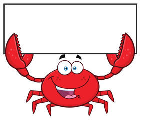 Happy Crab Cartoon Mascot Character Holding Blank Sign. Vector Illustration Isolated On White Background