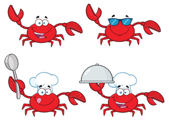 Crab Cartoon Character Set 1. Vector Collection Isolated On White Background
