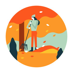 Gardener woman raking up autumn leaves in garden. Autumn scenery and activity. flat icon design. illustration vector