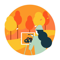 Woman Artist painting an autumn landscape.Autumn scenery and activity.  flat  icon design illustration vector