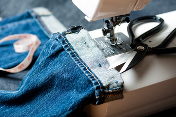 sewing denim jeans