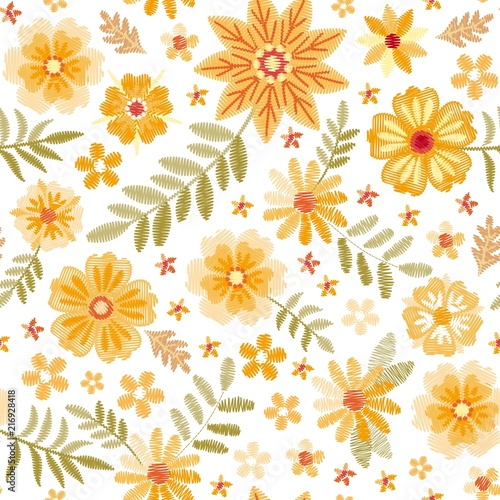 Embroidery seamless pattern with cute yellow flowers and green embroidery seamless pattern with cute yellow flowers and green leaves on white background fashion embroidered mightylinksfo