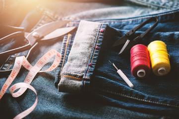 sewing indigo denim
