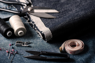 sewing indigo denim