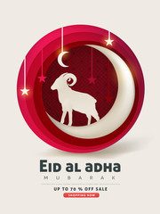 Eid Al Adha Mubarak the celebration of Muslim community festival background design with sheep and goat paper cut style.Glowing lights Vector Illustration
