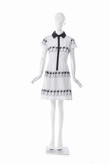female black sundress clothing on full-length mannequin isolated-white background