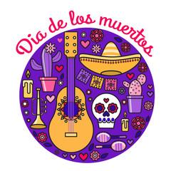 Dia de los Muertos Halloween Guitar Skull Pipe Flowers Cactus Daisies