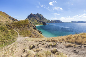 Hiking trails and beautiful water on Pulau Padar island in the Komodo National Park.