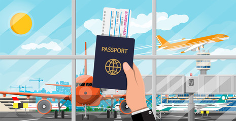 Hand with passport and airline ticket. Plane before takeoff. Airport control tower, terminal building and parking area. Cityscape. Sky with clouds and sun. Vector illustration in flat style