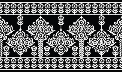 Seamless damask floral border