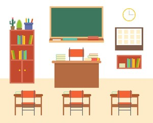 empty classroom or study room interior background, flat design