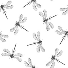 Seamless pattern with decorative dragonfly