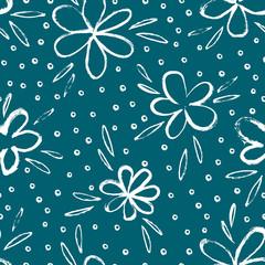 Fototapete - Sketched simple flower print