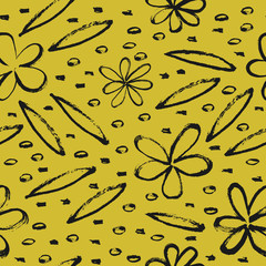 Fototapete - Seamless background with outline flowers