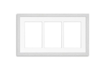 White wooden frame, three pictures collage. Home, office, studio or gallery interior decoration mock up