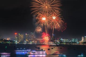 Firework festival at Pattaya Beach, Thailand