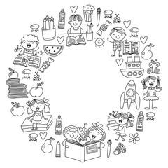 School, kindergarten boys and girls reading books. Imagination. Library. Space, travel, adventure.