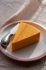 Triangle piece of British hard cow  dark yellow cheddar cheese on pink table