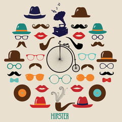 Hipster Colorful Retro Vintage Vector Icon Set.