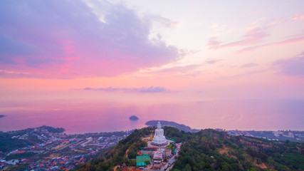 aerial view sweet sunset at Phuket big Buddha. .Phuket Big Buddha statue is one of the island most important and revered landmarks on the island.