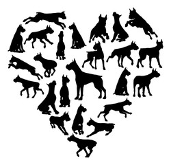 Boxer Dog Heart Silhouette Concept